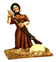 Woman ramming musket