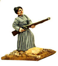 Woman firing musket from hip
